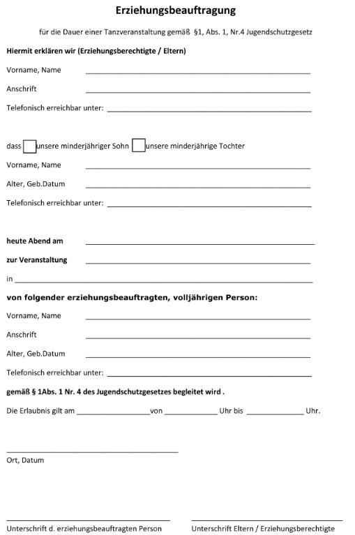 U18 Formular Der Partyzettel Zum Ausdrucken Download 0